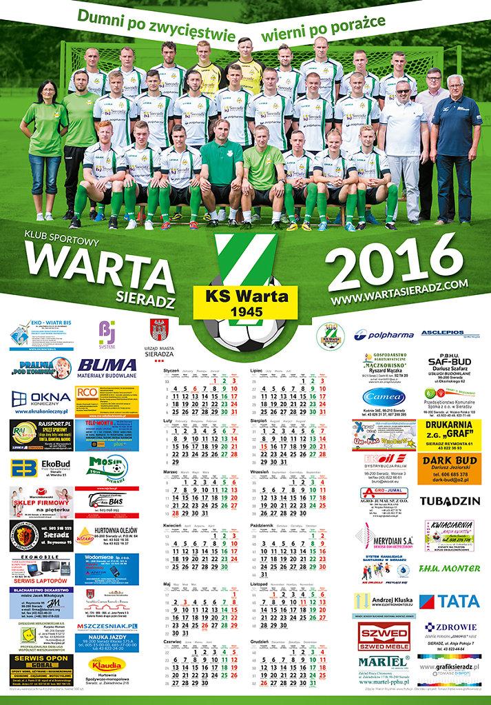 Kalendarz dla klubu WARTA SIERADZ na rok 2016
